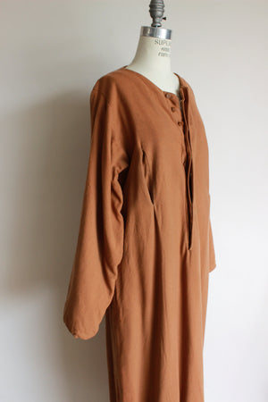 Vintage Costume Long Brown Wool Dress