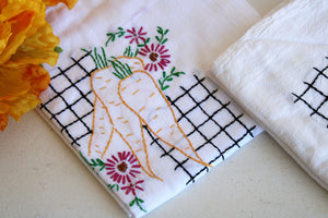 Vintage 1950s Flour Sack Embroidered Towels or Tablecloths