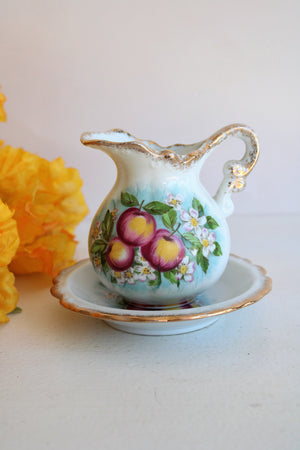 Vintage Fruit and Flower Print Creamer with Saucer