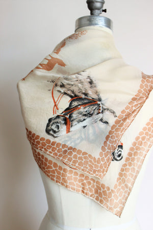 Vintage 1940s Horse Novelty Print Collectible Scarf