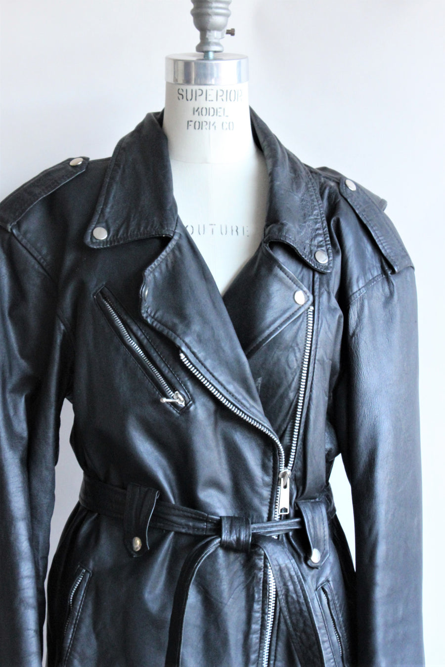 Vintage 1990s Black Leather Biker Jacket