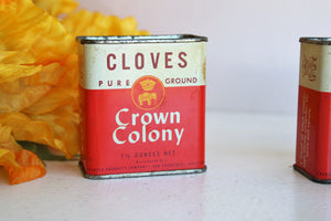 Vintage 1960s Crown Colony Spice Tins
