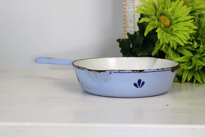 Vintage 1950s Dru Cast Iron Skillet Pan in Blue And White #17