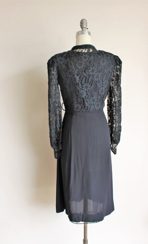Vintage 1940s Black Rayon Dress With Lace Bodice