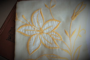 Vintage 1950s Cotton Handkerchief In Yellow with Embroidered Lily