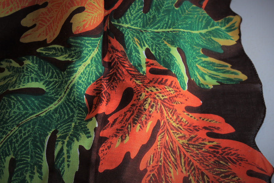 Vintage 1960s Cotton Handkerchief with Autumn Leaf Print