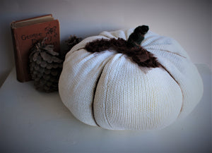 Extra Large Creamy White Knit Pumpkin Pillow Pouf