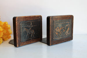 Vintage Wooden Bookends With Pressed Tin Mexican Country Scenes