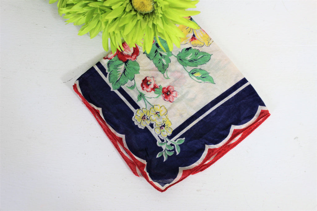 Vintage 1940s Handkerchief In A Blue Yellow And Red Flower Print