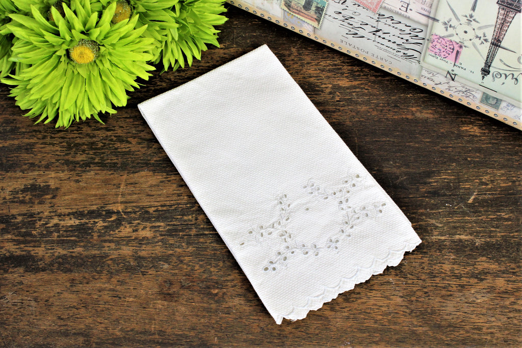 Vintage White Damask Towel With Embroidered Cutwork