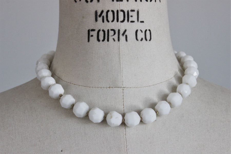 Vintage 1950s White Glass Bead Necklace