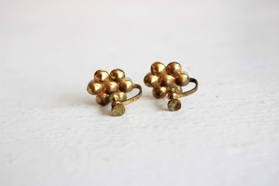 Vintage 1950s Faux Pearl And Rhinestone Screw Back Earrings