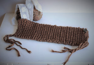 "Handknit ""Hot Cocoa"" Brown  Cowl or Collar Scarf"
