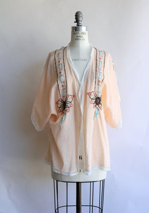 Vintage 1920s Butterfly Bed Jacket in Peach Cotton
