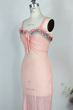 Vintage 1990s Pink Slip Dress In Cotton Gauze With Keyhole Front and Floral Print Trim