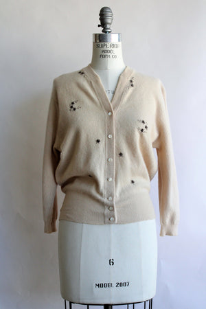Vintage 1950s Cashmora Sweater With Brown Floral Embroidery
