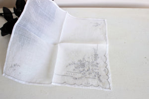 Vintage Handkerchief, Embroidered Gray And White Flowers