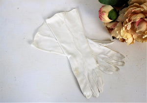 Vintage 1950s 1960s White Elbow Length Gloves