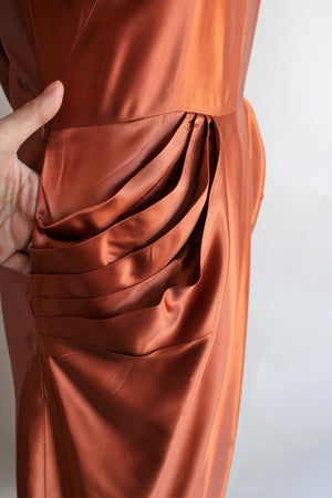 Vintage 1940s Rust Orange Satin Dress