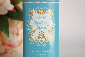 Vintage 1970s Avon Heres My Heart Perfumed Talc Body Powder Tin