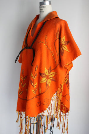 Vintage 1960s Orange Felted Wool Embroidered Poncho