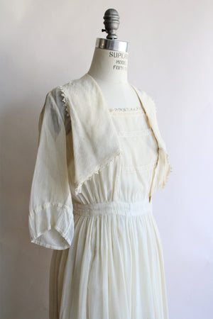 Antique Edwardian Cotton Dress in Pale Ivory