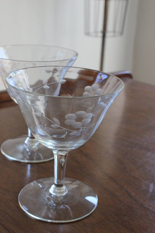 Vintage Cut Glass Cocktail or Champagne Glasses, Pair