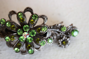 Vintage 1990s Hair Barrette with Green Rhinestones
