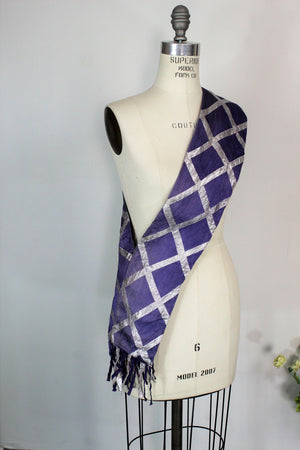 Vintage 1980s Purple Silk Scarf