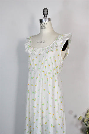 Vintage 1970s 1980s Floral Print Nightgown With Tiny Yellow Flowers And Swiss Dots