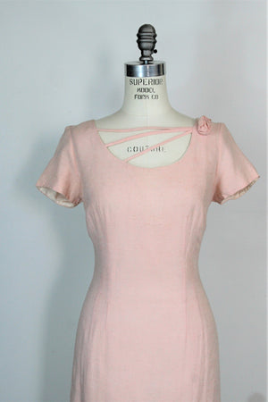 Vintage 1960s Pink Raw Silk Wiggle Dress By Miss Melinda Of California