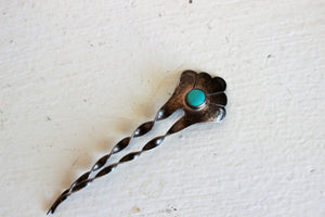 Vintage 1990s Native American Turquoise And Sterling Silver Hair Comb