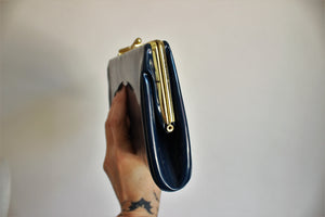 Vintage 1960s Blue Patent Leather Handbag