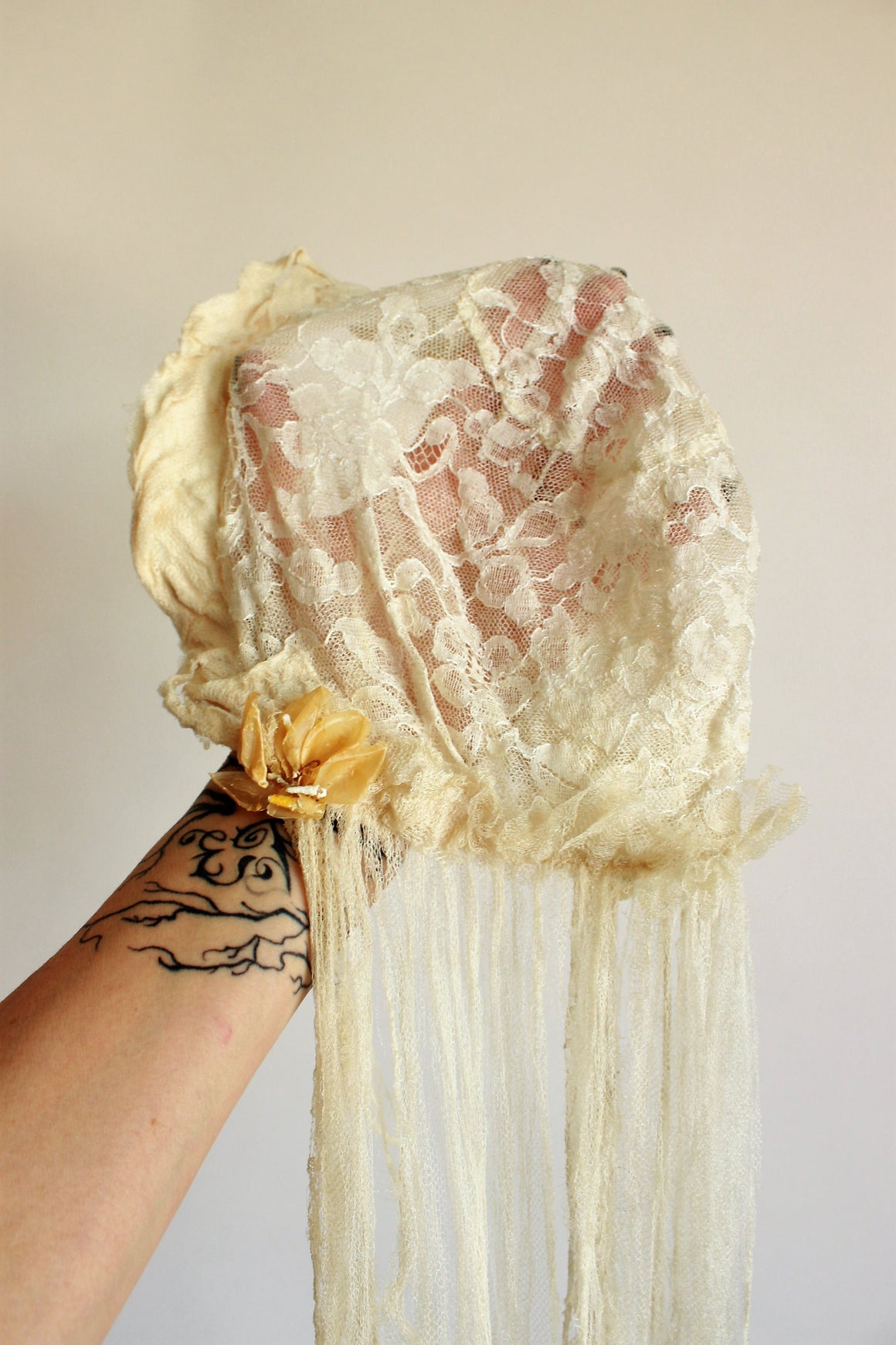 1930s Wedding Veil with Flower Trim and Tattered Lace