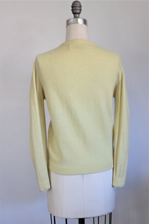 Vintage 1950s Yellow Sweater, Cardigan By Campus Casuals