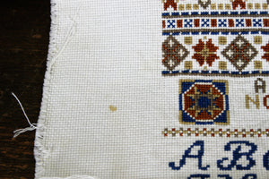 Vintage 1970s Alphabet Needlepoint Sampler Finished