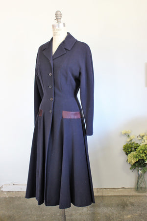 Vintage 1940s Blue Princess Coat With Large Bow In Back