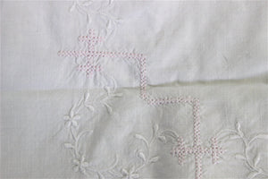 Vintage Antique Victorian Pillow Case In White Cotton With Pink And White Embroidery