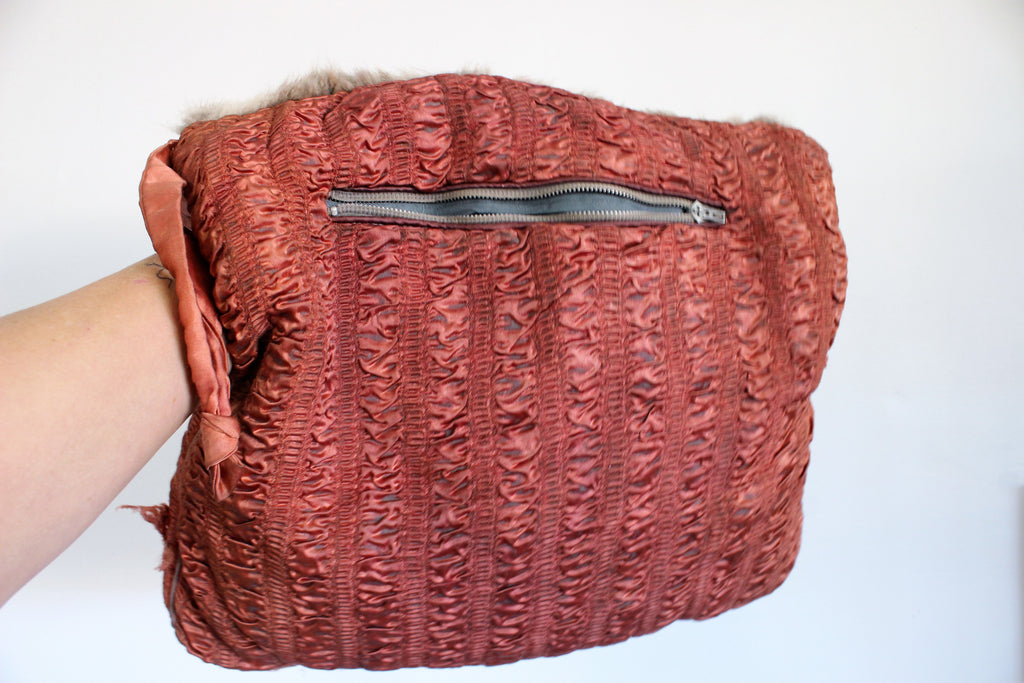 Vintage 1940s Satin And Fur Muff With Purse