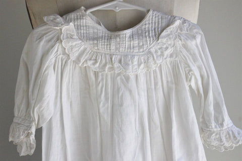 Vintage 1920s 1930s Girls White Cotton Smock Dress