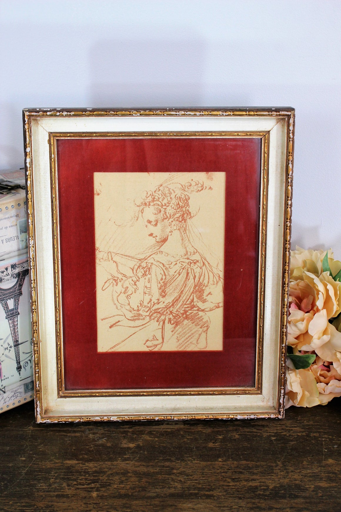 Vintage Midcentury Framed Etching Art Print Portrait Matted in Red Velvet