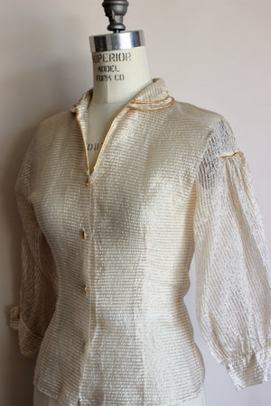 Vintage 1950s Gold Thread Blouse