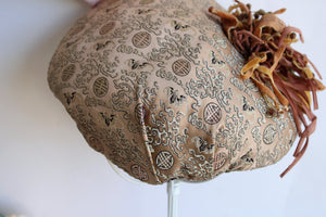 Vintage 1950s Asian Print Shell Hat
