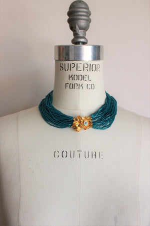 Vintage 1960s Teal Blue Multistrand Necklace With Flower Clasp