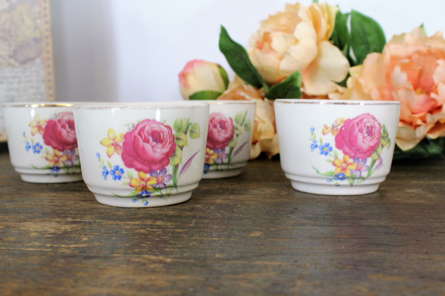 Vintage 1970s 1980s Dessert or Coffee Cups Set of Four