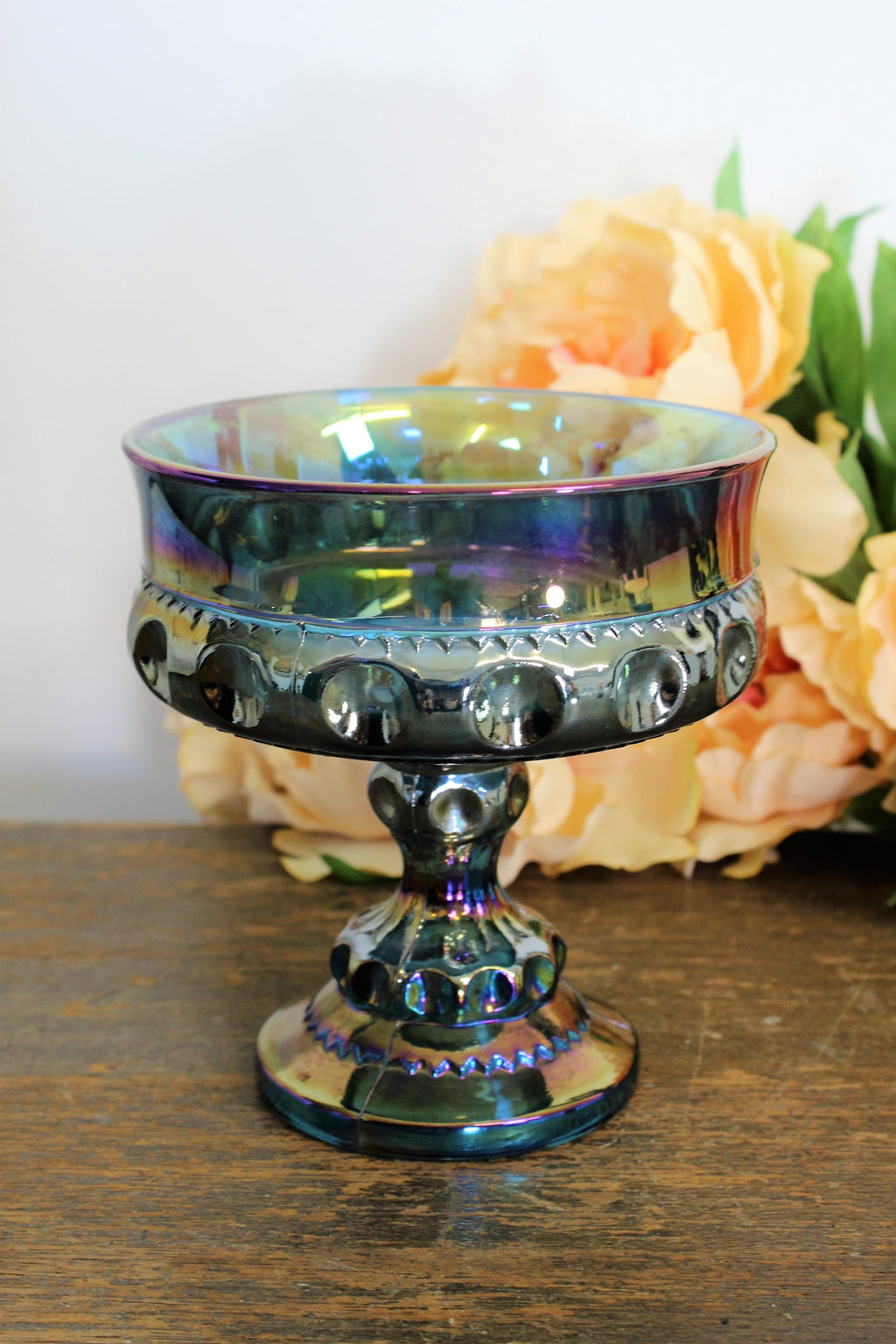 Vintage 1970s Blue Carnival Glass Candy Dish By Indiana Glass