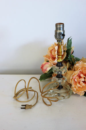 Vintage 1950s Glass And Wood Lamp