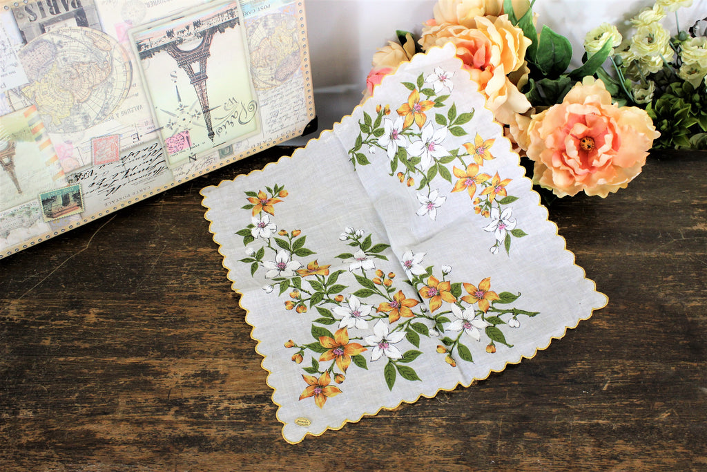 Vintage 1960s 1970s Cotton Handkerchief With A Yellow Flower Print