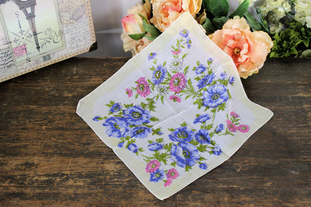 Vintage Cotton Handkerchief Floral Print in Pink and Blue