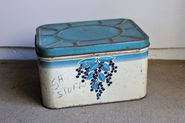 Vintage 1940s Breadbox with Blueberrys